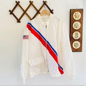 Vintage 80s USA Striped Windbreaker Jacket
